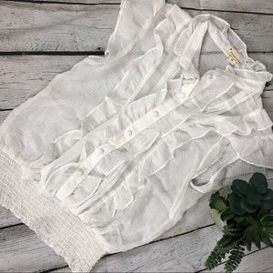 Twenty One white ruffle top Sz Med